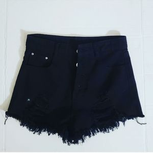 Shein Womens Black Distressed Frayed Hem Shorts